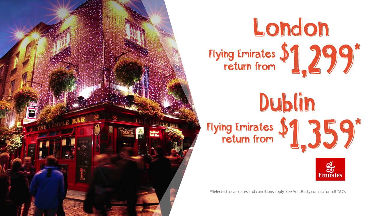 OFFER EXPIRED: Fly Emirates return to London from $1,299 or Dublin from only $1,359*.